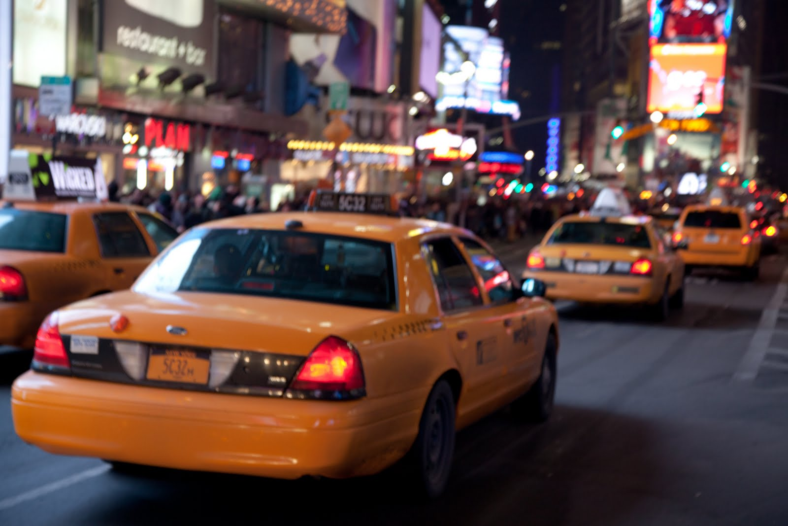 Yellow cab in Time Square