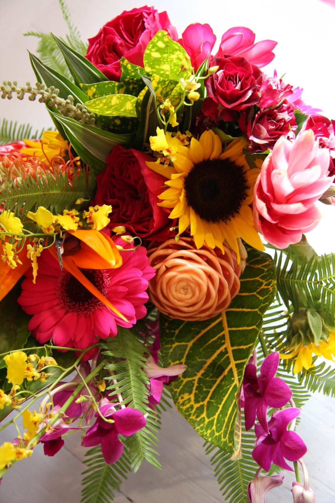 The flower magician tropical sunshine wedding bouquet for Bouquet of flowers for weddings