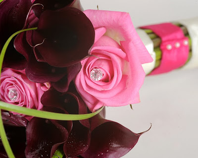 Fuschia Aubergine Wedding Bouquet
