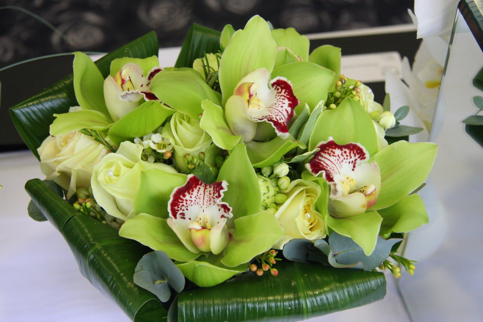 The Flower Magician Green Orchid And Green Rose Wedding Bouquet