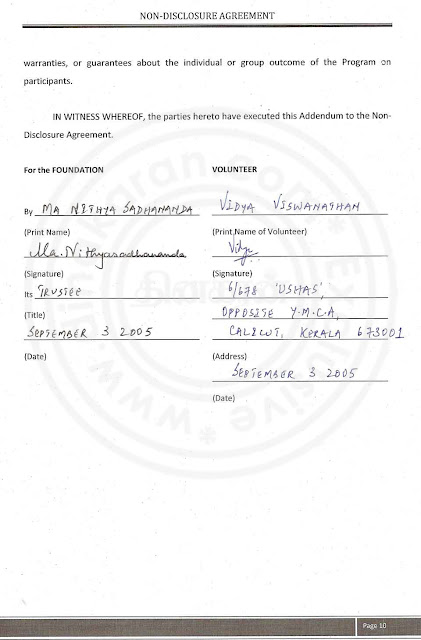 Nithyananda Agreement paper with lady devotee- page 10