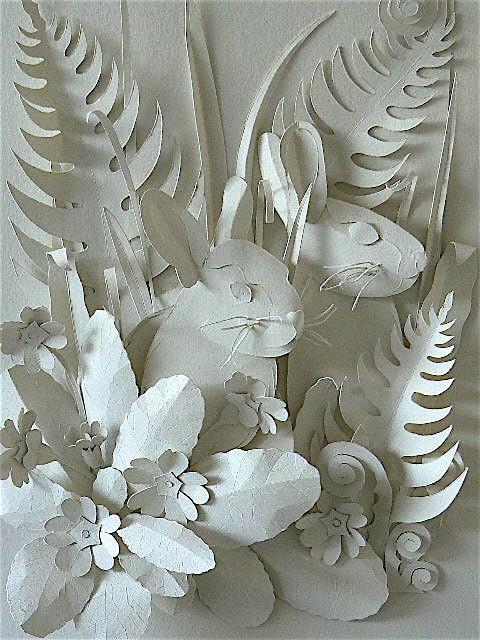 Объемные картинки из белой бумаги