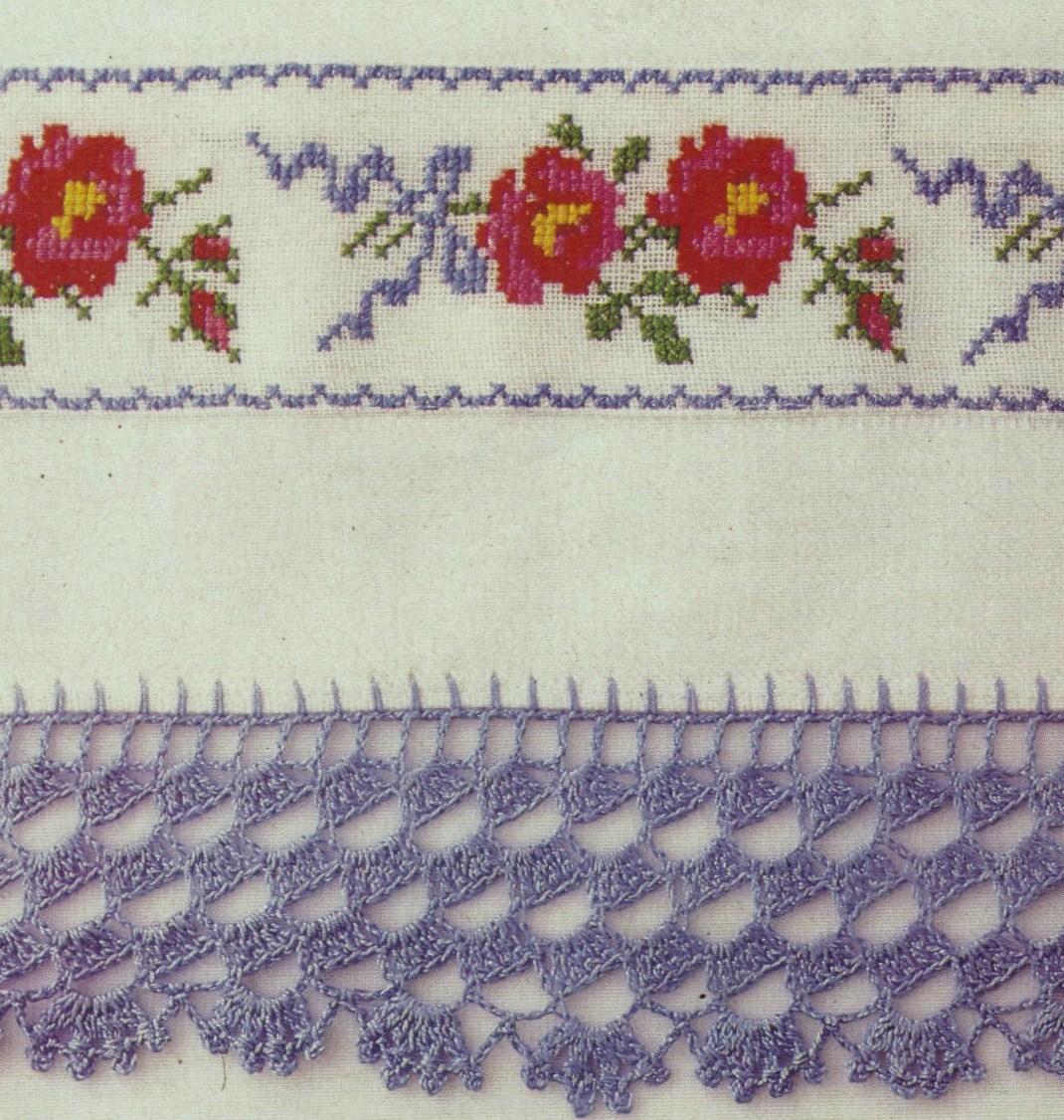 Milena 39 s mis manualidades fundas bordadas a punto de cruz y con una cenefa en crochet - Cenefas de crochet ...