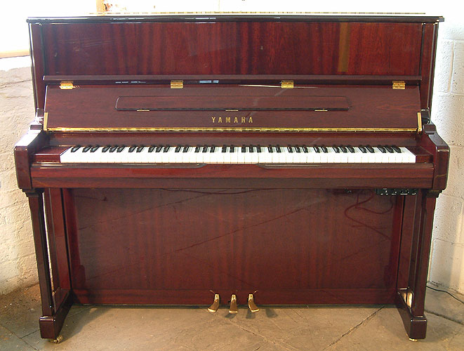 Yamaha pianos yorkshire mahogany yamaha v124n s upright for Yamaha piano upright