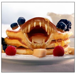 scary pancake monster with teeth