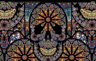Skull mosaic stained glass window