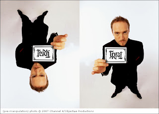 Illusionist Derren Brown holding his Trick or Treat ambigram