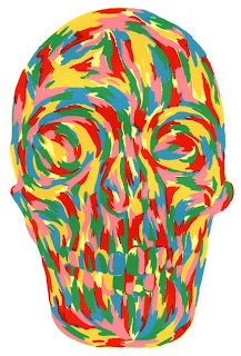 Multi-colored skull painting by Tony Bevilacqua