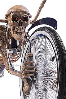Close-up of the skull on a bicycle created using a human skeleton