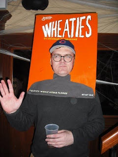 A clever do-it-yourself Wheaties cereal box costume