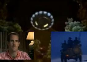 حادثة ريندلشام: صورة فنية للجسم الطائر المجهول حسب ما أفاد به شهود العيان، وبجانبه الشاهد الرئيسي هالت
