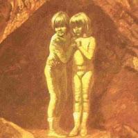 رسم يوضح خالة الطفلين أثناء العثور عليهما