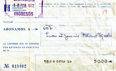 A don Juan Ignacio le abonaron en su cuenta del Banco Hispano Americano 50 pesetazas