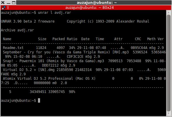 if you only want to view the list of files the rar archive contains use this command