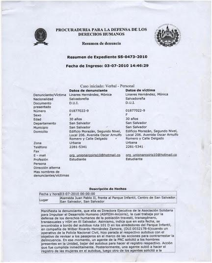 Agentes de Seguridad Ciudadana (La Policia) de EL Salvador, aplicando una accion TRANSFOBICA