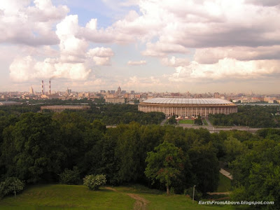 View of The Luzhniki Stadium from the Observation Platform at Sparrow Hills, Moscow, Russia