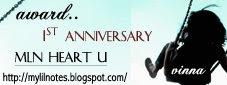 Vinna's blog 1st Anniversary