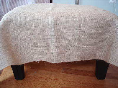 burlap and ruffles....an ottoman tutorial