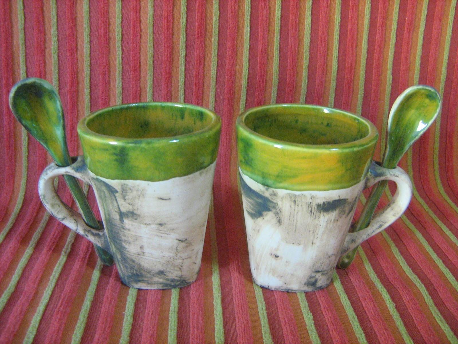 Hakuna matata ceramica artesanal tacitas c cucharita for Herramientas ceramica artesanal