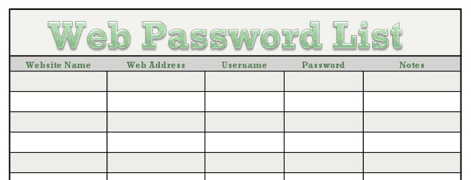 Rhiana Reports: Free Downloadable Website Password Form