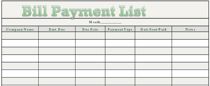 rhiana reports  free downloadable bill payment tracker