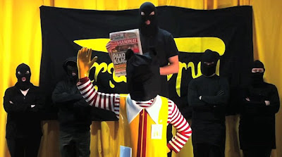 Chilling: In a spoof of an Al-Qaeda hostage film, an animal rights group, threatens to execute Ronald McDonald