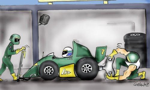 F1 en dibujo representando un Garaje de F1