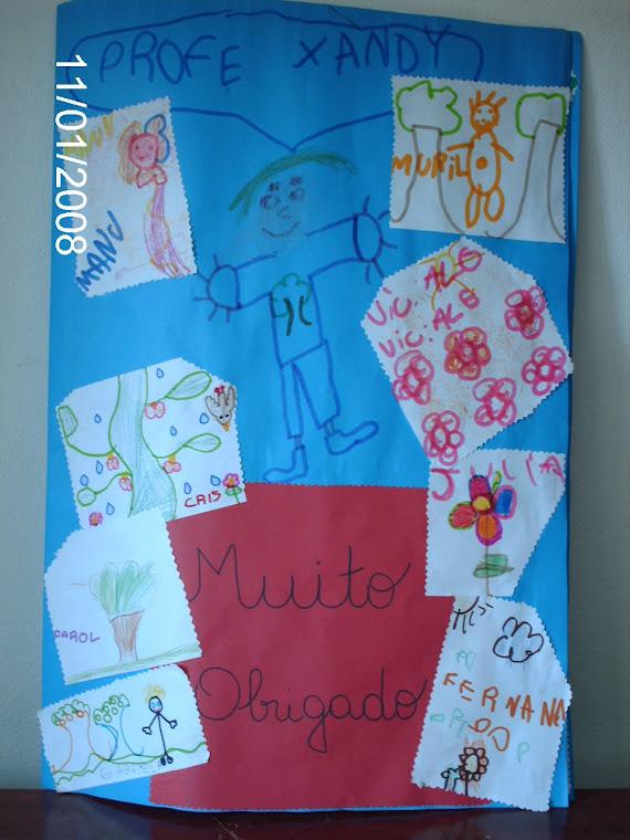Capa do cartão de agradecimento feita pelos alunos da 1ª série do ensino fundamental da Escola.