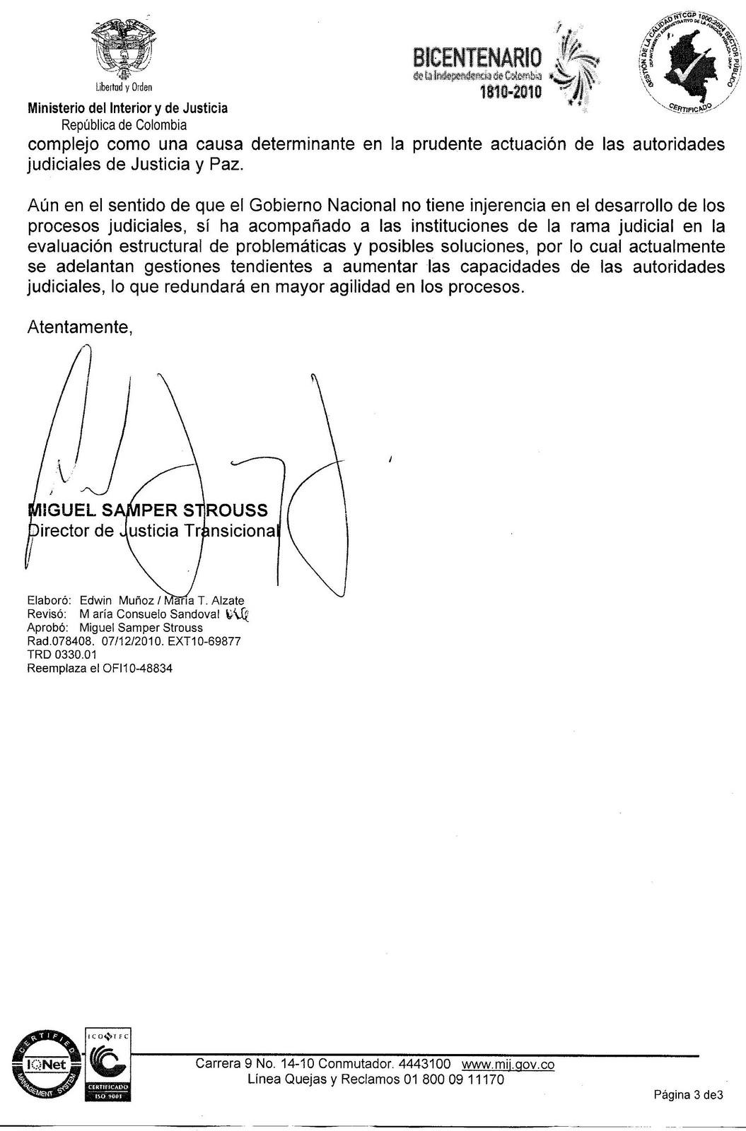 Respuesta a comunicaci n enviada al se or presidente de la Intranet ministerio de interior y justicia