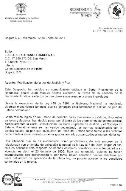 Respuesta a comunicación enviada al señor presidente de la República, doctor Juan Manuel Santos Calderón, por parte de Miguel Samper Strouss, Director de Justicia Transicional del Ministerio del Interior y de Justicia