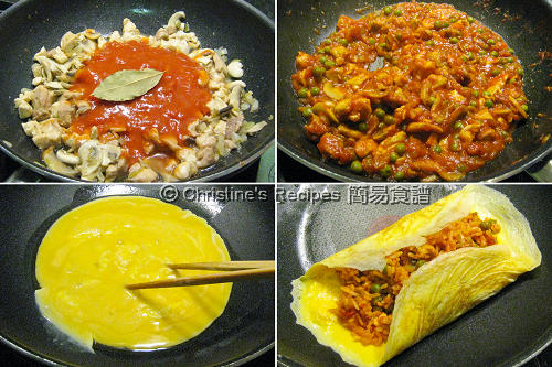蛋包飯製作圖 Omurice Procedures