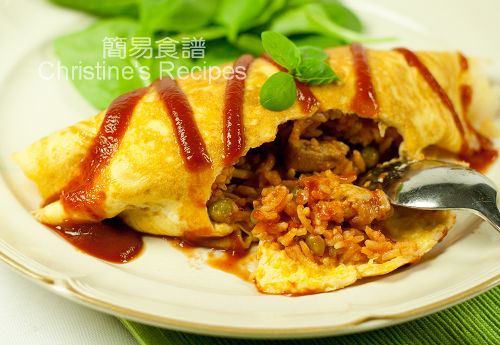 Omurice (Chicken and Tomato Rice wrapped in Fried Eggs) | Christine's ...