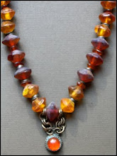 Antique glass,amber necklace