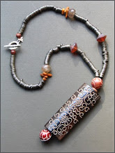 Antique silver, coral,jade necklace