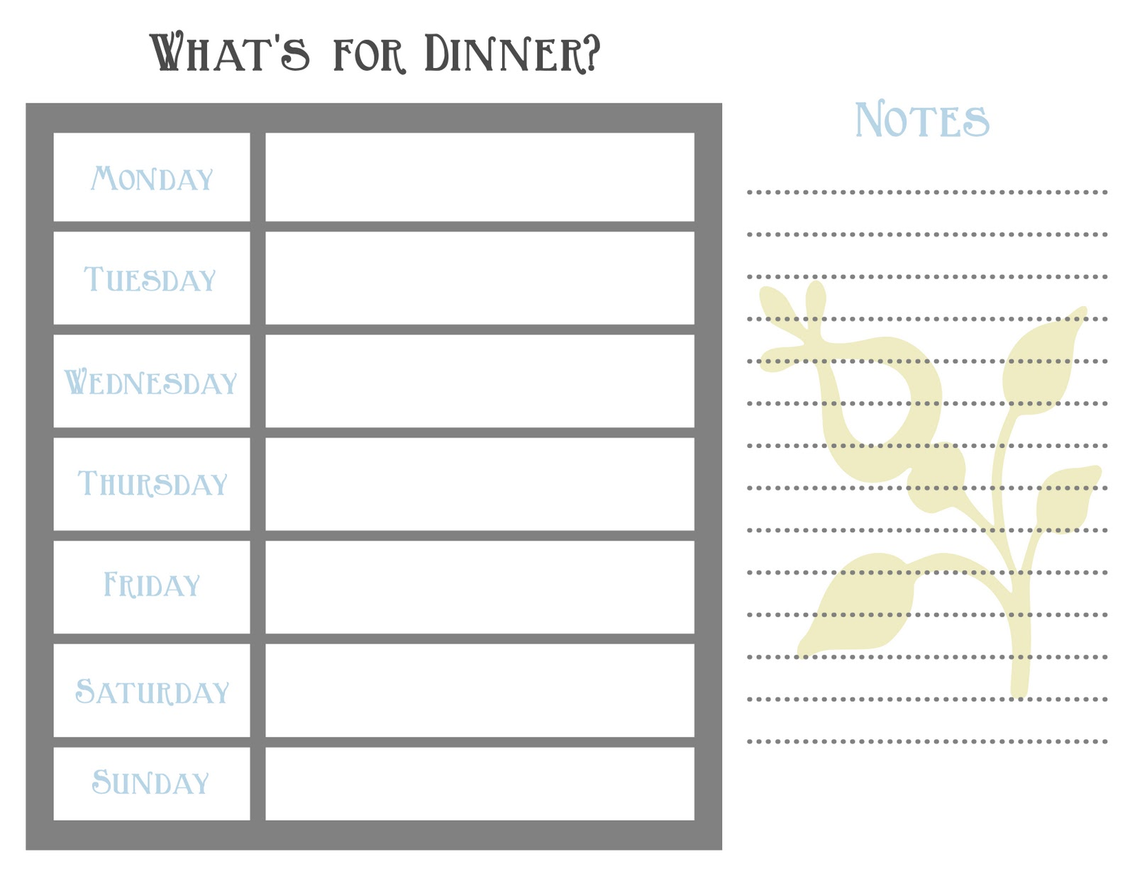 Printable Weekly Menu Planner Template, Pretty Weekly Planner Template ...
