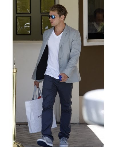 What to wear: Grey blazer, blue trousers, white v-neck t ...