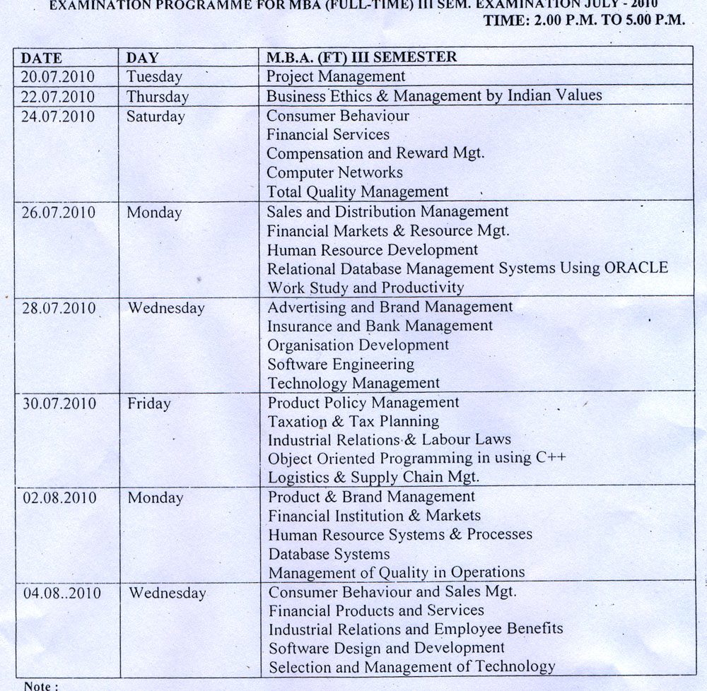 Rdvv jbp time table for Rdvv 5th sem time table