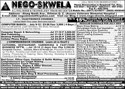July 2009 NEGO-SKWELA Course Schedule