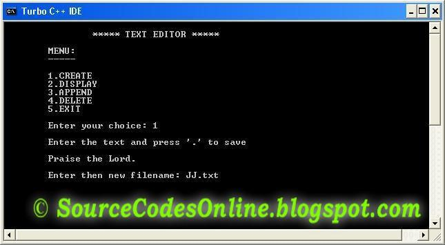 C Program For The Implementation Of A Simple Text Editor