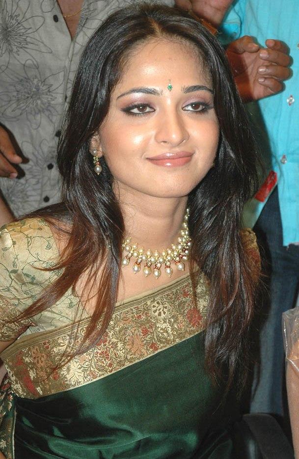 Anushka Shetty in Indian Katan Saree, Designer Wear Hindustani Saree