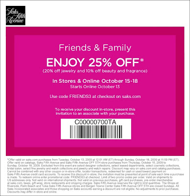 saks+friends+and+family Saks Fifth Avenue Friends & Family