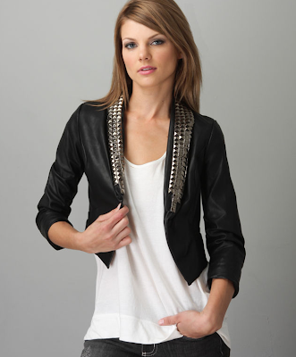 Studded+Faux+Leather+Jacket Headliner Vegan Leather Crop Jacket