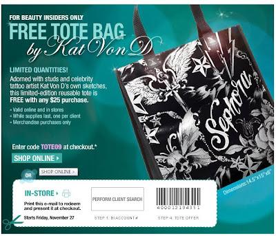 sephora+tote Free at Sephora: Kat Von D Tote Bag
