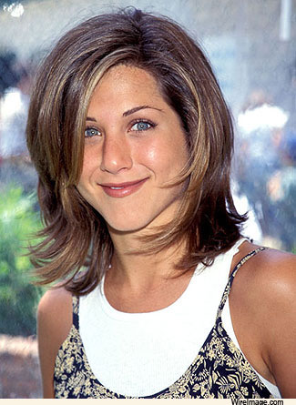 Celebrity Jennifer Aniston sexy long hairstyle; friends rachel hairstyle.