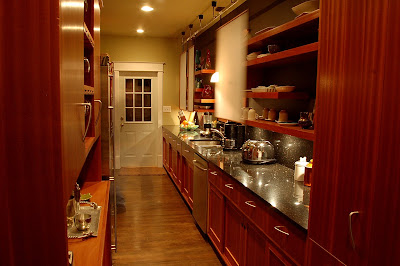 C B Fine Cabinets Mahogany And Sepele Kitchen Galley Detail Note Rail And