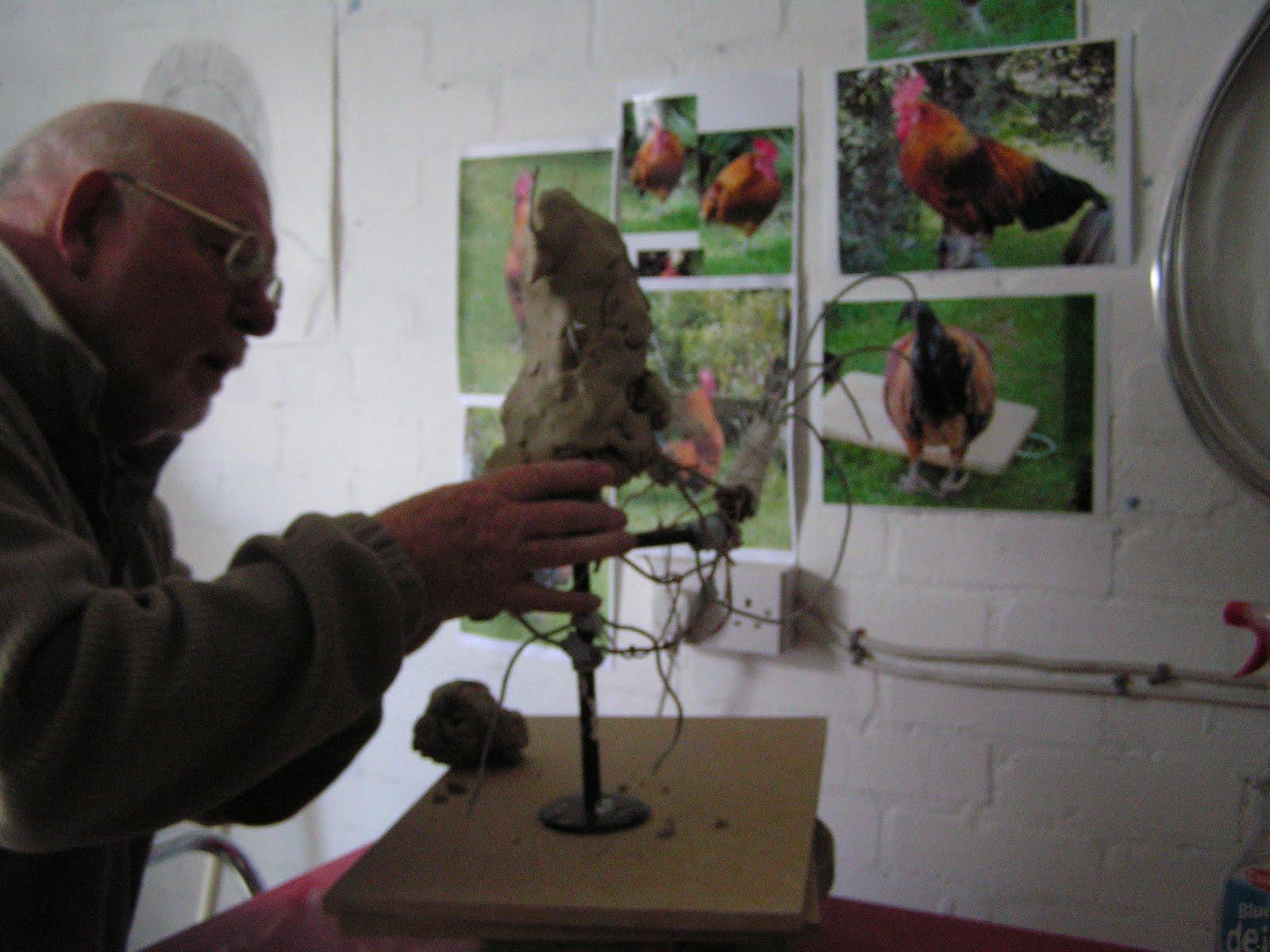 animal-sculpture: Cockerel Sculpture in Progress