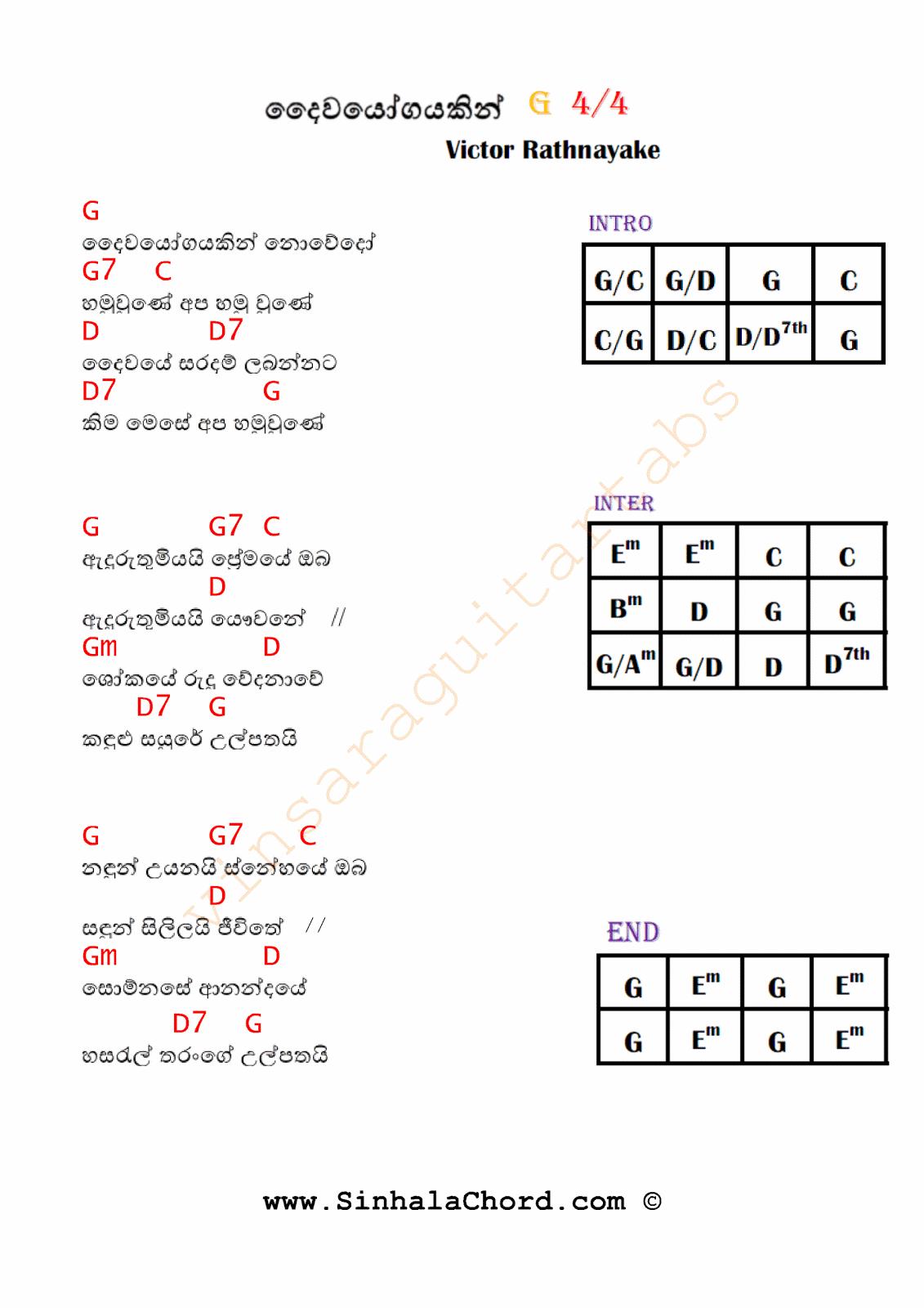 Daiwayogayakin Nowedo Victor Rathnayake Sinhala Guitar Chords