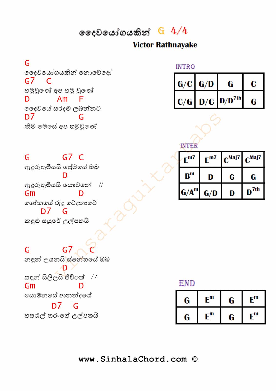 Daiwayogayakin Nowedo - Victor Rathnayake : Sinhala Guitar Chords:Sinhala Songs Chords:Guitar ...