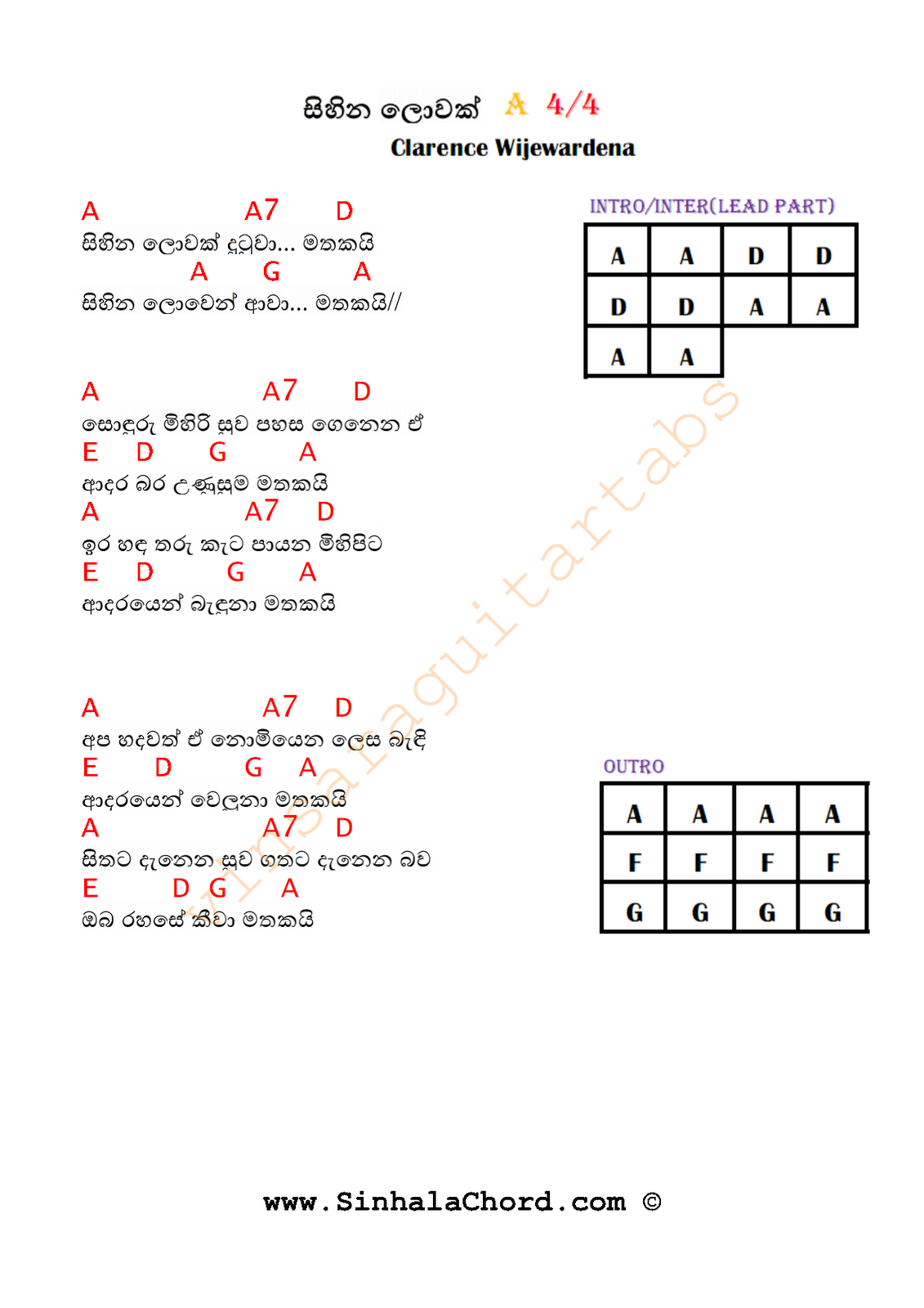 Sihina Lowak - Guitar Chords : Sinhala Guitar Chords:Sinhala Songs Chords:Guitar Tabs:Sinhala ...