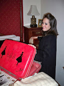 Black Fur & Red Vintage suitcase!